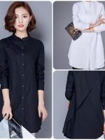 เสื้อสไตล์เกาหลี ผ่าหน้าติดกระดุม ด้านหลังแต่งดีเทลเก๋ๆ เนื้อผ้าฝ้ายอย่างดีสวมใส่สะบาย งานนำเข้าแบรนด์แท้คุณภาพดี