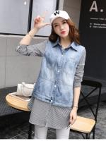เสื้อเชิ้ตตัวยาวสไตล์เกาหลี ผ้ายีนส์ตัดต่อกับผ้าลายเก๋ๆ เนื้อผ้าดีสวมใส่สะบาย งานนำเข้าแบรนด์แท้ของเมืองนอกคุณภาพดี