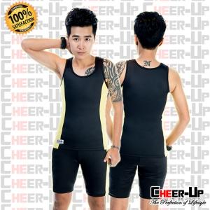 ชุดว่ายน้ำ แขนกุด (พร้อมกางเกงว่ายน้ำ) สีดำ-เหลืองอ่อน