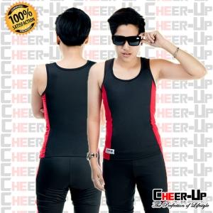 ชุดว่ายน้ำ แขนกุด (พร้อมกางเกงว่ายน้ำ) สีดำ-แดง