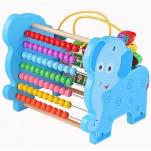 """FW-1375 ของเล่นเสริมพัฒนาการ ของเล่นไม้ """"ช้างลูกคิด 3in1"""" (ลูกคิดขดลวดลูกปัดไม้ และรางตัวเลข)"""