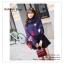 PR095 ผ้าพันคอแฟชั่น ผ้าคลุมไหล่ ผ้าหนา สีกรมท่า พิมพ์ลยสวยขนาด กว้าง 65 ยาว 186 cm. thumbnail 1