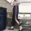 กางเกงวอล์มขายาวกางเกงฮาเร็มสีดำผ่าด้านข้างติดกระดุมที่ข้อเท้าเก๋ๆค่ะ thumbnail 1