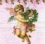 แนวภาพความรัก กามเทพถือช่อดอกไม้ ภาพโทนสีชมพู เป็นภาพ 4 บล๊อค กระดาษแนพกิ้นสำหรับทำงาน เดคูพาจ Decoupage Paper Napkins ขนาด 33X33cm thumbnail 1