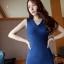 เดรสสั้นให้นม คอวี 052 มีสี ชมพู/ น้ำเงินเข้ม/ เหลืองแอพพริคอท thumbnail 6