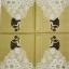 แนวภาพ Wedding บ่าวสาวตระกองกอด บนพื้นสีทอง กระดาษแนพกิ้นสำหรับทำงาน เดคูพาจ Decoupage Paper Napkins เป็นภาพ 4 บล๊อค ขนาด 33X33cm thumbnail 2