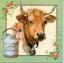 แนวภาพสัตว์ ภาพวาดลงสีวัวพร้อมถังนม พื้นหลังสีครีม ในกรอบสีเขียว เป็นภาพ 4 บล๊อค กระดาษแนพกิ้นสำหรับทำงาน เดคูพาจ Decoupage Paper Napkins ขนาด 33X33cm thumbnail 1