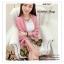 PR046-B ผ้าพันคอแฟชั่น ผ้าซาติน สีชมพู พิมพ์ลายสวย ขนาด ยาว 180 กว้าง 90 cm. thumbnail 1