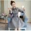 เสื้อแฟชั่นผ้าฝ้าเดรสสไตลเกาหลี-เทา thumbnail 7