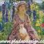 กระดาษสาพิมพ์ลาย สำหรับทำงาน เดคูพาจ Decoupage แนวภาำพ ภาพวาด สาวหน้าสวยใส่ชุดกับหมวกเข้าเซ็ตกัน อุ้มแมวนั่งเล่นในสวนดอกไม้ thumbnail 1