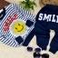 """ชุดแฟชั่นเด็กมาใหม่ ลายทางสีน้ำเงิน-ขาว"""" smile """"กางเกงสีน้ำเงิน ผ้าcotton เนื้อนุ่ม ใส่สบาย สไตล์เกาหล ขนาด100 thumbnail 6"""