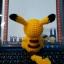 ตุ๊กตาถัก โครเชต์ 001 POKEMON PIKACHU แบบนั่ง ขนาดเล็ก thumbnail 2
