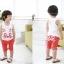 ชุดเสื้อกล้ามและกางเกงลายหน้าแมว สีน้ำเงิน น่ารักสไตล์เกาหลี เก๋มากค่ะ thumbnail 2
