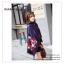 PR095 ผ้าพันคอแฟชั่น ผ้าคลุมไหล่ ผ้าหนา สีกรมท่า พิมพ์ลยสวยขนาด กว้าง 65 ยาว 186 cm. thumbnail 3