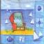 แนวภาพทะเล เก้าอี้ชายหาด ในกรอบลายแต่ง ภาพโทนสีฟ้า เป็นภาพ 4 บล๊อค กระดาษแนพกิ้นสำหรับทำงาน เดคูพาจ Decoupage Paper Napkins ขนาด 33X33cm thumbnail 1