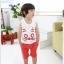 ชุดเสื้อกล้ามและกางเกงลายหน้าแมว สีน้ำเงิน น่ารักสไตล์เกาหลี เก๋มากค่ะ thumbnail 1