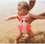 ชุดว่ายน้ำเด็กทารกความสูง 80-120ซม.ลายหงส์สีดำและหงส์สีชมพู เป็นชุดวันพีชแถมหมวกค่ะ thumbnail 2