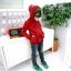 Huanshu kids เสื้อกันหนาวแฟชั่นเด็กสีแดงมีฮูท เก๋มาก น่ารักสไตล์เกาหลี ( ผ้าหนา ) ขนาด120 thumbnail 2