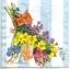 แนวภาพดอกไม้ เป็นช่อดอกไม้สีสดกับพื้นหลังแถบสีฟ้าขาว เป็นภาพ 4 บล๊อค กระดาษแนพกิ้นสำหรับทำงาน เดคูพาจ Decoupage Paper Napkins ขนาด 33X33cm thumbnail 1