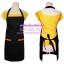 ผ้ากันเปื้อนเต็มตัว กระเป๋าเล็ก2ใบ สีดำแต่งขอบกระเป๋าสีส้ม