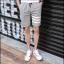 กางเกงขาสั้นแฟชั่นเกาหลี ลายทาง : สีเทา thumbnail 3