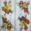 แนวภาพดอกไม้ เป็นช่อดอกไม้สีสดกับพื้นหลังแถบสีฟ้าขาว เป็นภาพ 4 บล๊อค กระดาษแนพกิ้นสำหรับทำงาน เดคูพาจ Decoupage Paper Napkins ขนาด 33X33cm thumbnail 2
