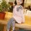 ชุดเซตเด็กหญิง 2 ชิ้น เสื้อ+กางเกง ผ้าเนื้อดีน่ารักสไตล์เกาหลี ( สีชมพู ) thumbnail 1