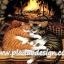 กระดาษสาพิมพ์ลาย สำหรับทำงาน เดคูพาจ Decoupage แนวภาำพ แมวลายก้างปลาสีเทา กับสีทอง นอนกอดกันผิงไฟ เพิ่มความอบอุ่น (ปลาดาว ดีไซน์) thumbnail 1