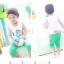 ชุดแฟชั่นเด็ก 2 ชิ้น เสื้อขาวลายก้างปลา กางเกงสีเขียวน่ารัก สไตล์เกาหลี(เด็ก 6 เดือน-3ขวบ ค่ะ thumbnail 1