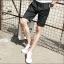 กางเกงขาสั้นแฟชั่นเกาหลี ลายทาง : สีดำ thumbnail 4