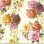 แนวภาพดอกไม้ เป็นช่อดอกไม้ 3 ช่อ บนพื้นสีครีม เป็นภาพกระจายเต็มแผ่น กระดาษแนพกิ้นสำหรับทำงาน เดคูพาจ Decoupage Paper Napkins ขนาด 33X33cm thumbnail 1