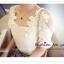 VS007 เสื้อแขนสั้น สีขาว ช่วงแขวผ้าลายดอกไม้ ไหล่เว้า สวยมากคะ ผ้าชีฟอง ใส่สบาย thumbnail 11