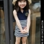 Huanzhu kids ชุดเดรส เด็กสีน้ำเงิน กระโปรงลายริ้วสีขาว-น้ำเงิน สไตล์เด็กเกาหลี น่ารัก thumbnail 2