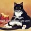 กระดาษสาพิมพ์ลาย สำหรับทำงาน เดคูพาจ Decoupage แนวภาพ เมื่อน้องแมวดำแอบขโมย เปิดอาหารแมวกินกันเอง ผลก็คือ พุงกาง thumbnail 1