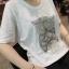 เสื้อยืดคอกลมสีขาวแขนสั้น ปักลายตัวนกฮูกเต็มหน้าอก แนวสาวเซอ เก่ๆค่ะ thumbnail 2
