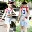 เสื้อกล้ามเด็ก สีเทา ด้านหน้าสกรีนเลข11ลายธงชาติ ด้านหลังสกรีนเลข3 thumbnail 1
