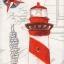 แนวภาพทะเล ประภาคาร นกนางนวล เงื่อนผูกเชือก กระดาษแนพคินสำหรับทำงาน เดคูพาจ Decoupage Paper Napkins เป็นภาพ 2 บล๊อค ในแผ่น ขนาด 21X22cm thumbnail 1