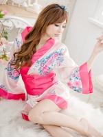 ชุดนอนเซ็กซี่/ซีทรู คอสเพลย์กิโมโนญี่ปุ่นลายดอกไม้สีชมพู + กางเกงใน