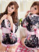 ชุดนอนซีทรู/เซ็กซี่ คอสเพลย์กิโมโนญี่ปุ่นสีดำลายดอกไม้ผ้าคาดชมพูอ่อน +กางเกงใน