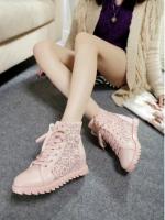 รองเท้าผ้าใบเสริมส้นลายลูกไม้