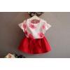 ชุดเสื้อไหล่เว้า สีขาวลายดอก พร้อมกระโปรงสีแดง ไซส์ 7, 13