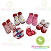 ถุงเท้าเด็กลายโทนสีแดงชมพู มีพื้นกันลื่น ขนาด 9-14cm เซต 4 คู่