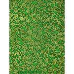ผ้าพิมพ์ทอง ลายก้นหอย สีเขียว