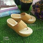 รองเท้าหูคีบแบบเสริมส้น พื้นขนมปังนุ่มที่สุดในสามโลก (สีครีม)