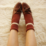 ถุงเท้าน่ารัก สีน้ำตาลแดง
