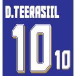 เสื้อฟุตบอลทีมชาติไทย ติดอาร์มบอลโลก และ ชื่อ ธีรศิลป์ แดงดา เบอร์ 10