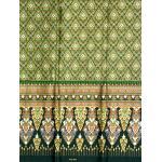 ผ้าพิมพ์ทอง ลายเชิงสูง สีเขียว