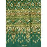 ผ้าพิมพ์ทอง ลายไทยเชิงเดียว สีเขียว