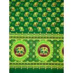 ผ้าพิมพ์ทอง ลายช้าง สีเขียว