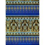 ผ้าพิมพ์ทอง ลายเชิง5ตอน สีน้ำเงิน